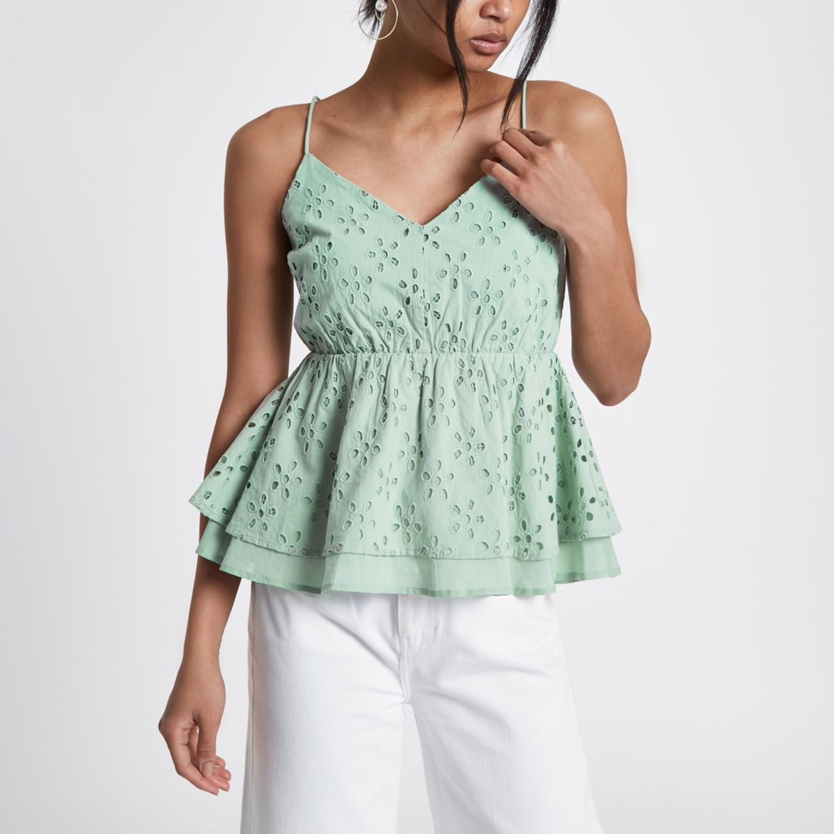 Green broderie lace cami