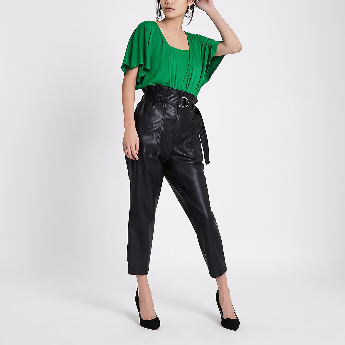 Green double layer batwing bodysuit