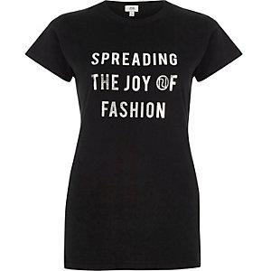 Black 'spreading the joy' print T-shirt
