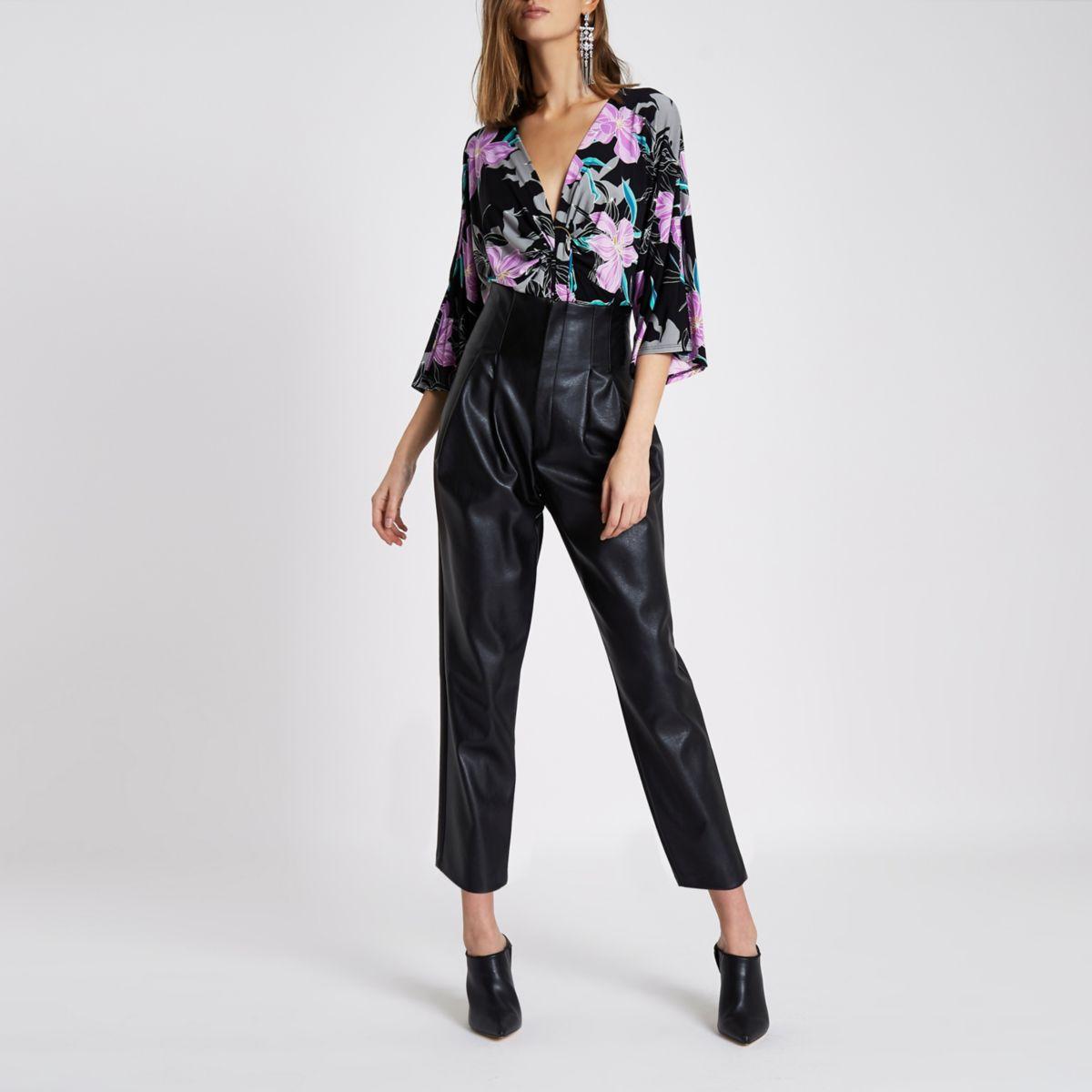 Black floral print ring front bodysuit