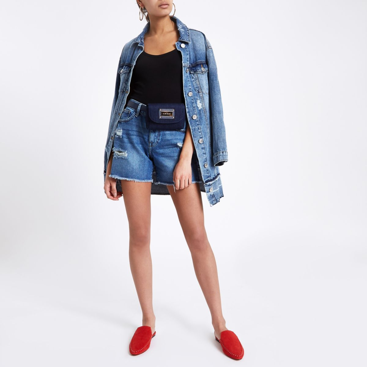 Dark blue ripped denim boyfriend shorts