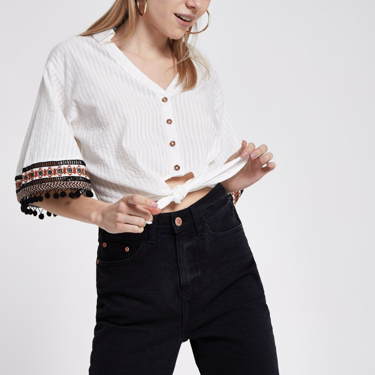 Petite cream embroidered crop top