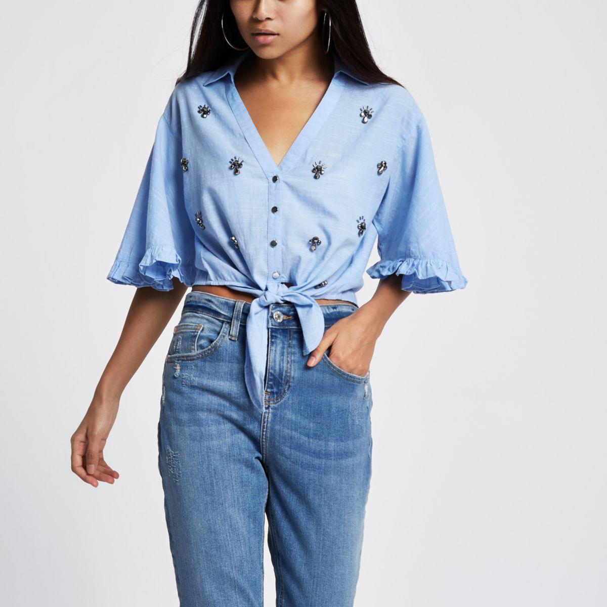 Petite blue jewel embroidered crop top