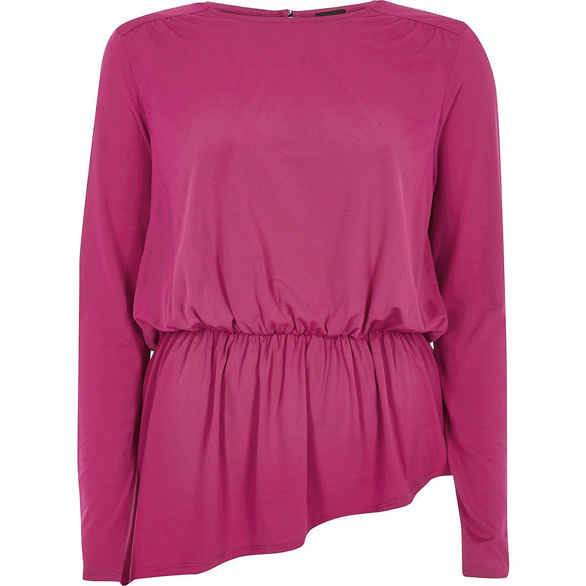Pink power shoulder peplum hem top