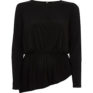 Black power shoulder peplum hem top