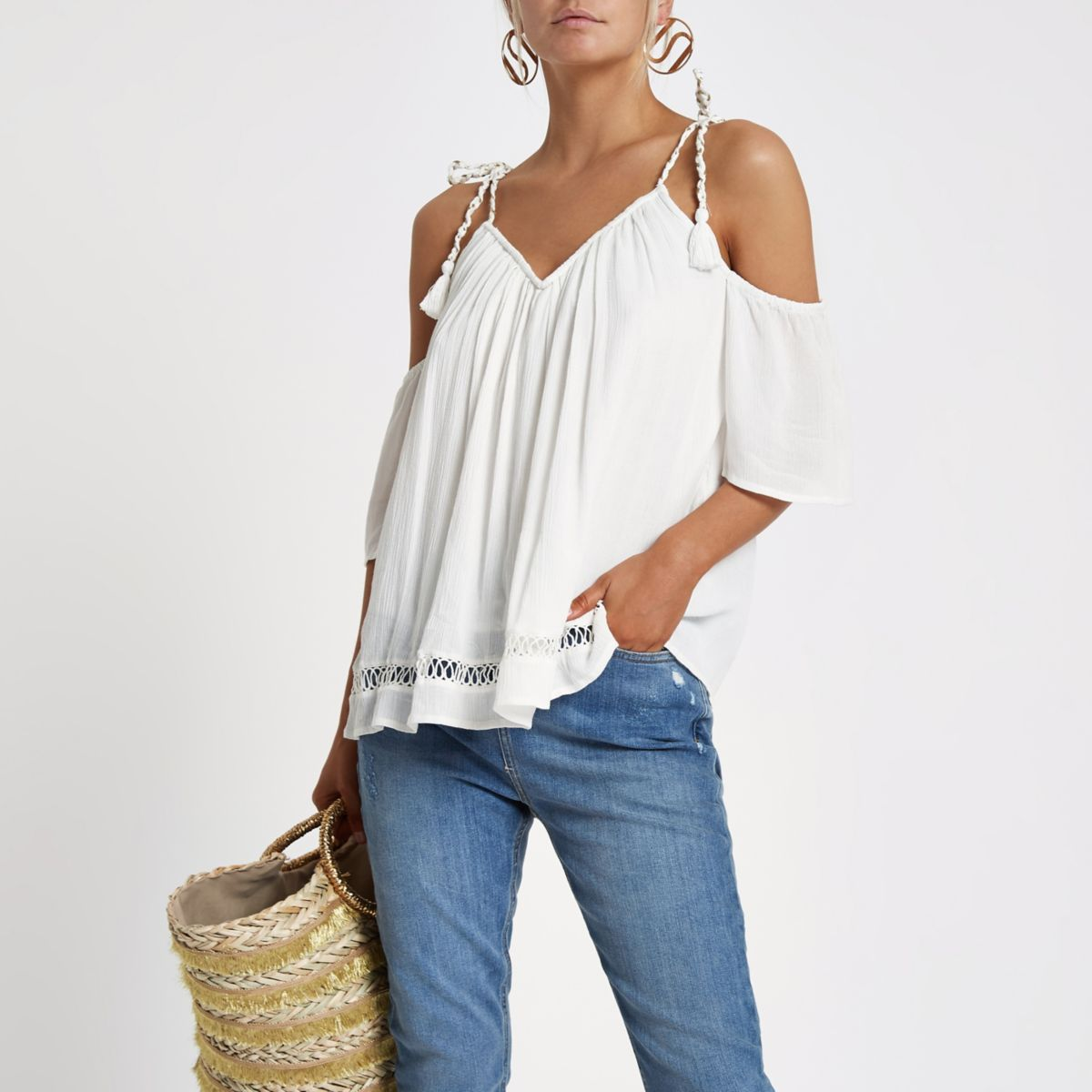 Petite white tie strap cold shoulder top