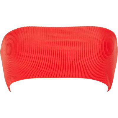 Red Bandeau Bikini Top