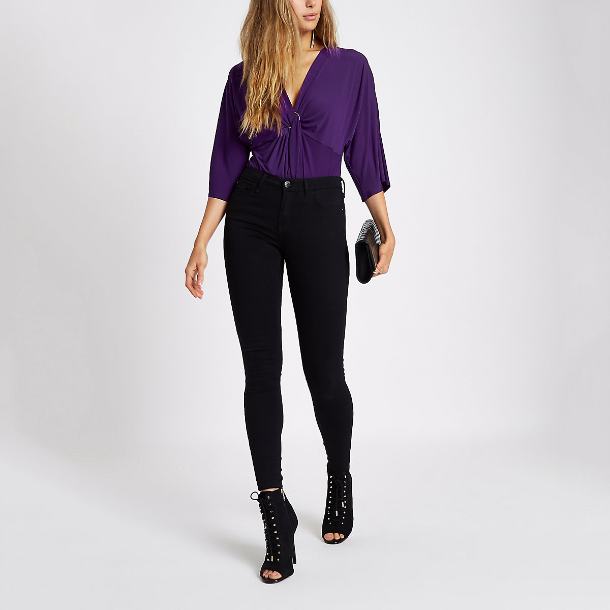 Purple twist ring front loose bodysuit