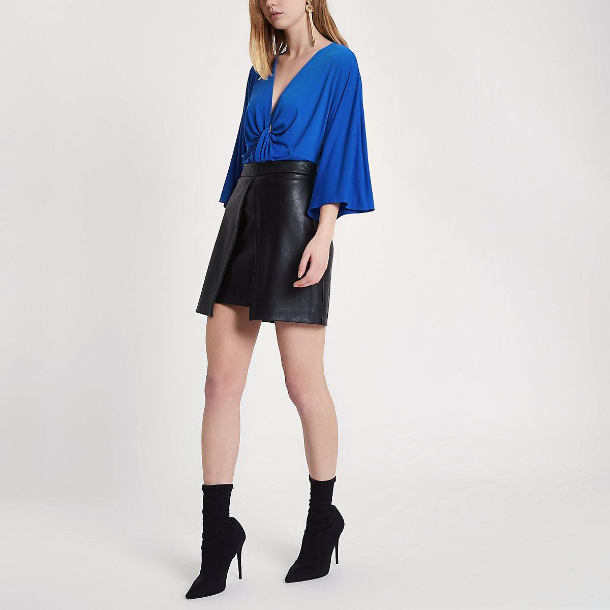 Blue twist ring front loose bodysuit