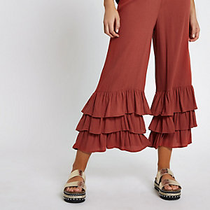 Rust orange tiered frill culottes