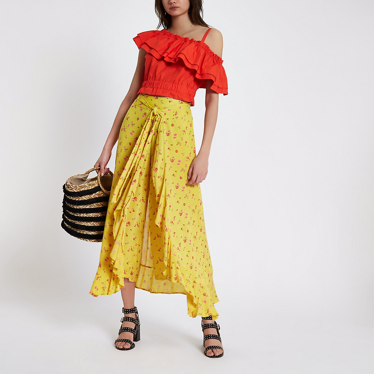 Yellow floral print tie wrap trousers