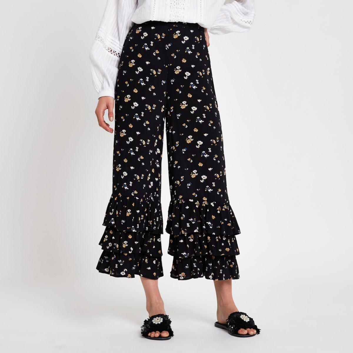 Black ditsy floral frill hem culottes