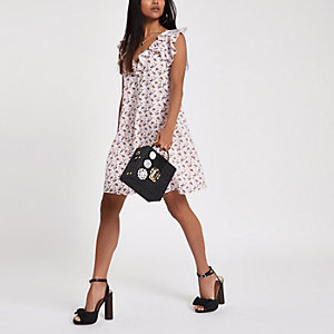 Petite pink floral lace-up frill swing dress