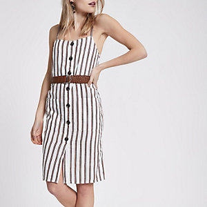 Petite white stripe belted mini dress