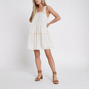 Petite cream lace trim open back swing dress