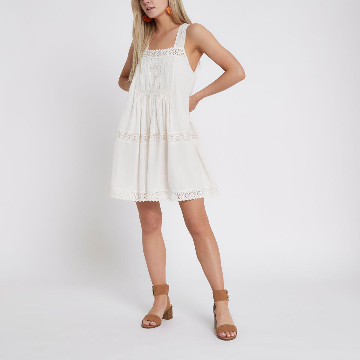 Petite cream lace trim open back swing dress