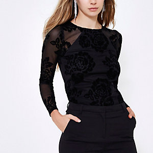 Black floral devore puff sleeve top