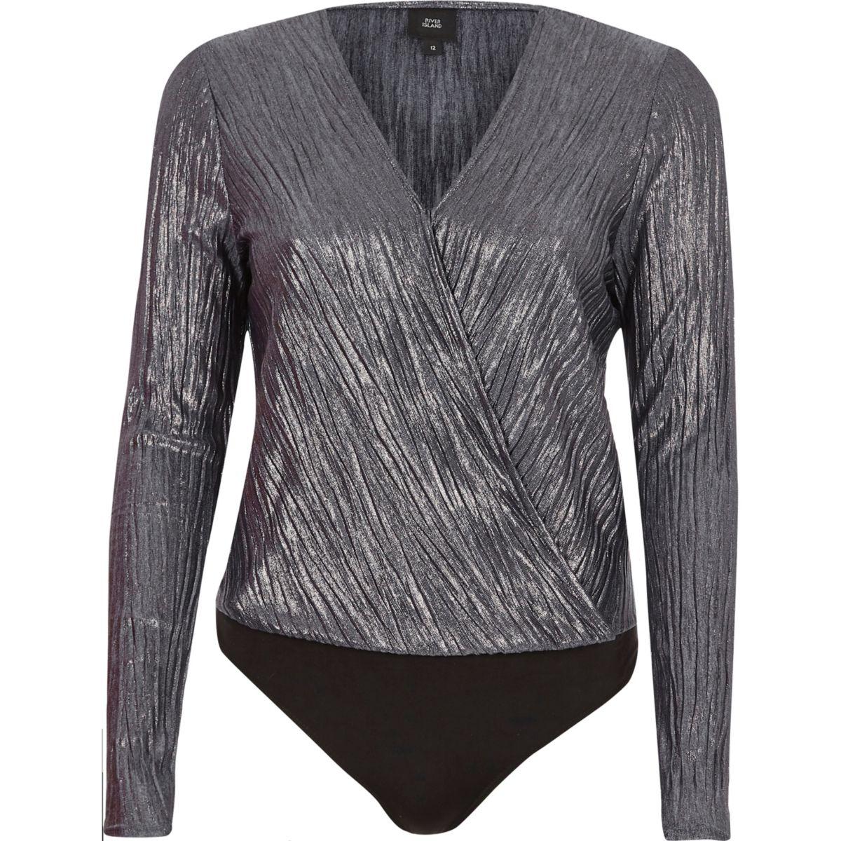 Silver metallic plisse wrap bodysuit