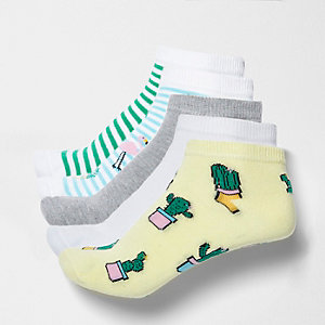 Blue cactus novelty trainer socks multipack