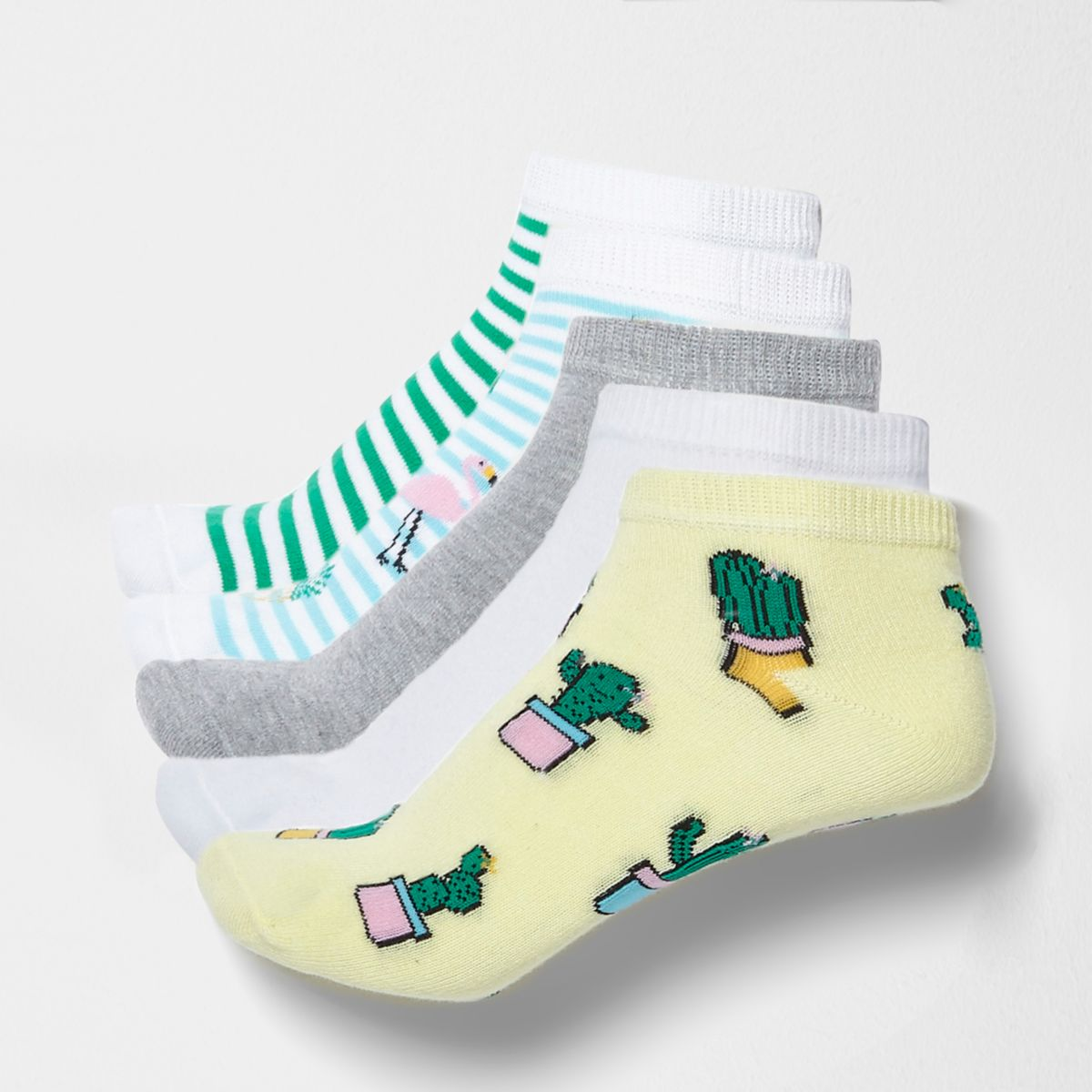 Blue cactus novelty sneaker socks multipack