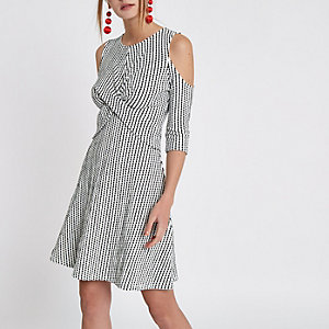 White jacquard cold shoulder wrap front dress