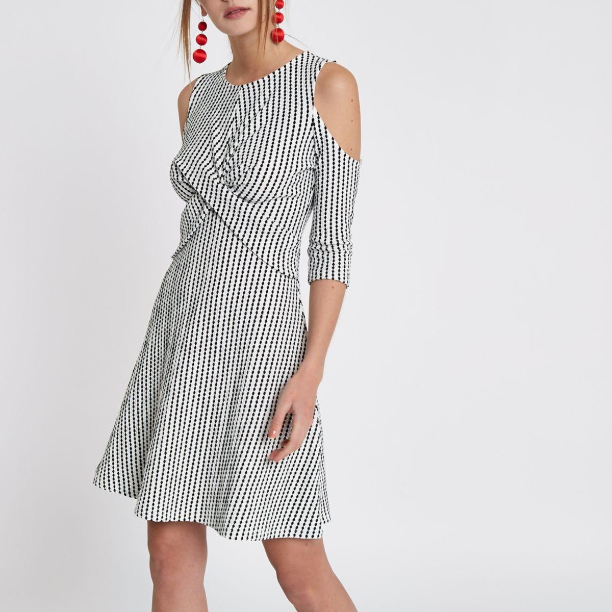 White jacquard cold shoulder wrap front dress