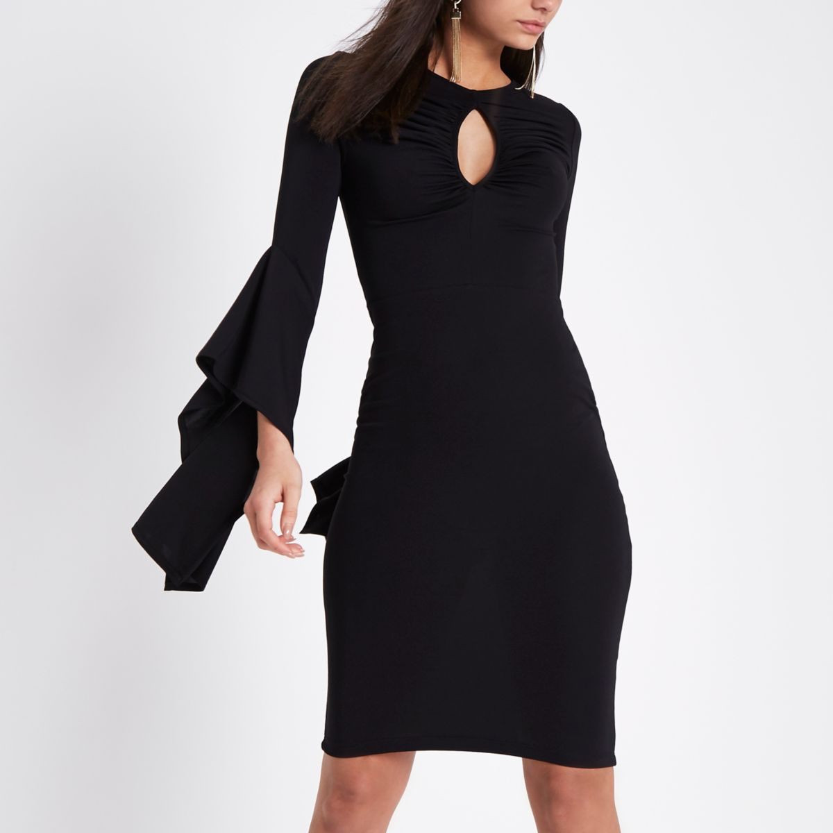 Black ruched keyhole cut out bodycon dress