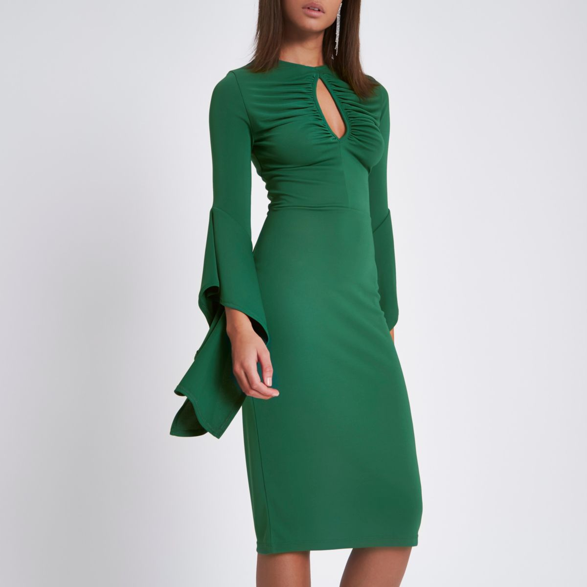 Green ruched keyhole cut out bodycon dress