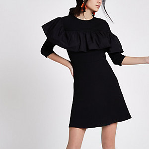 Black poplin frill jersey skater dress