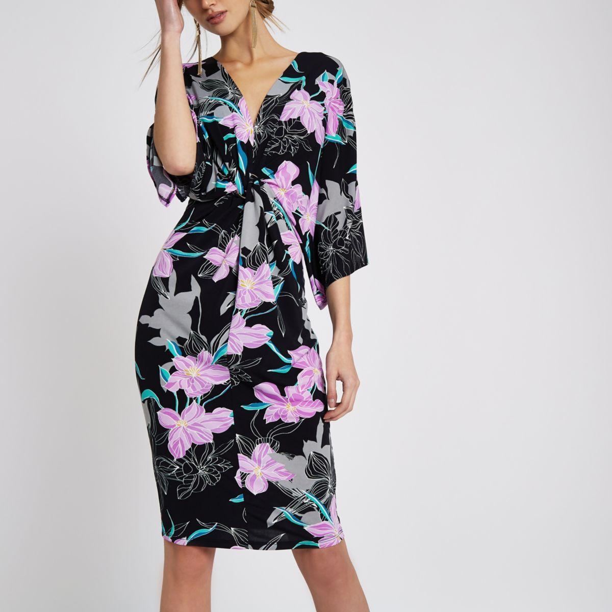 Black floral print batwing sleeve midi dress