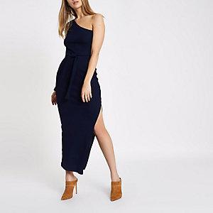 Marineblauwe geribbelde schouderloze maxi-jurk met strikceintuur