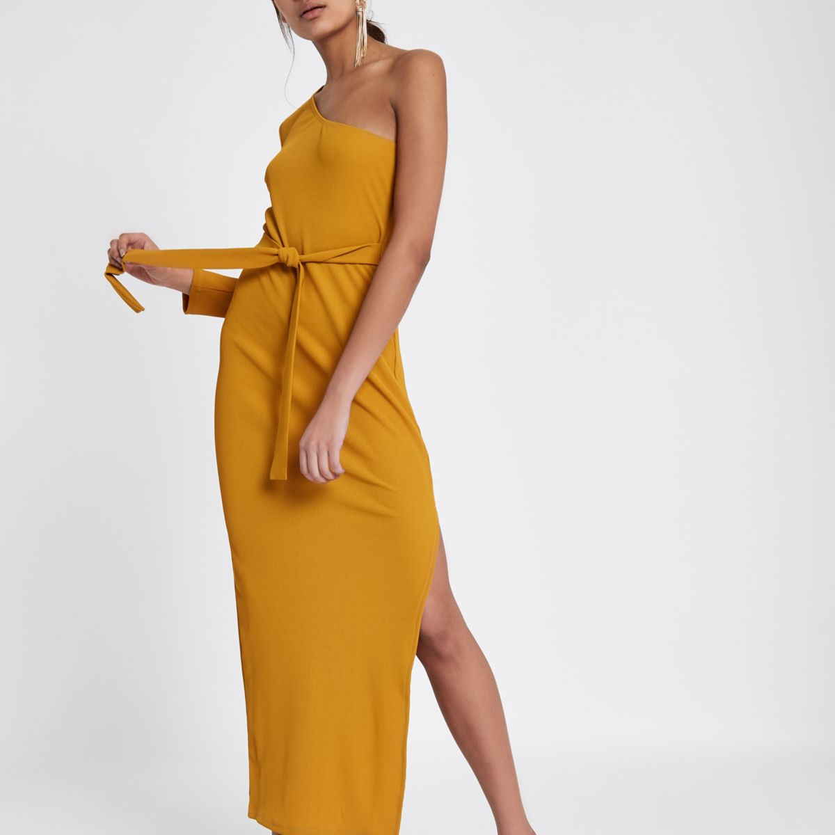 Mustard yellow rib one shoulder maxi dress