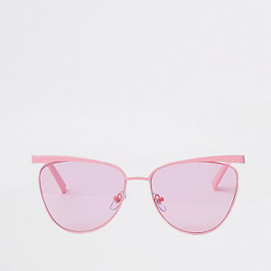 Pink cat eye pastel lens sunglasses