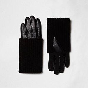 Gants en cuir noirs à superposition en maille