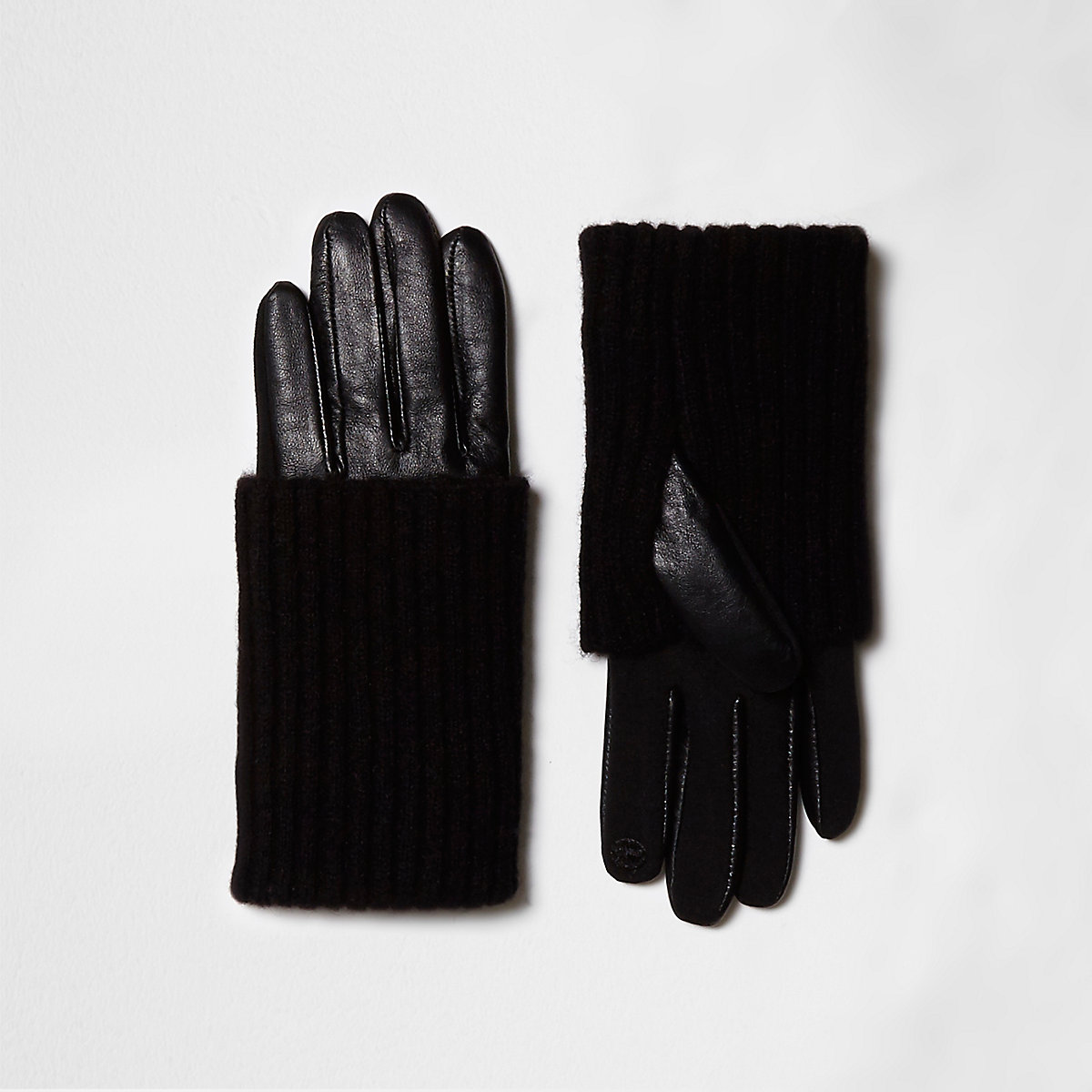 Black knit layer leather gloves