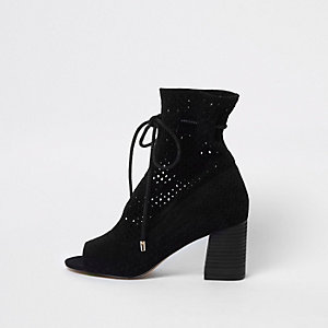 Black suede laser cut block heel shoe boots