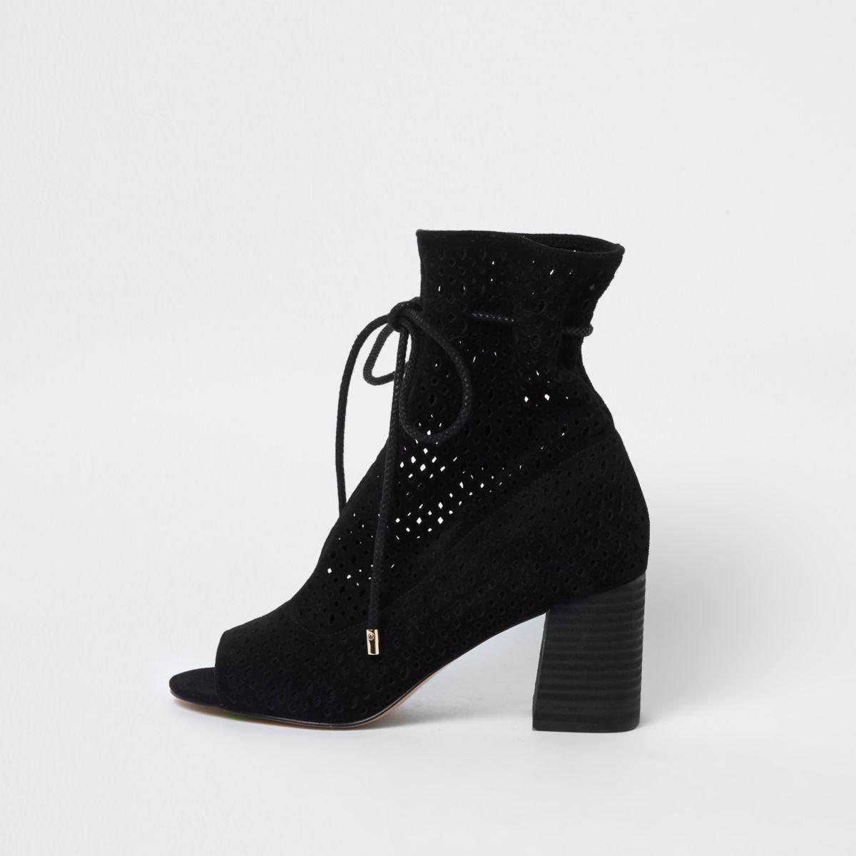 Black suede laser cut block heel shoe boots