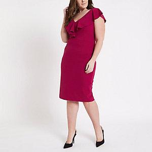 Gerüschtes Bodycon-Kleid mit tiefem Ausschnitt