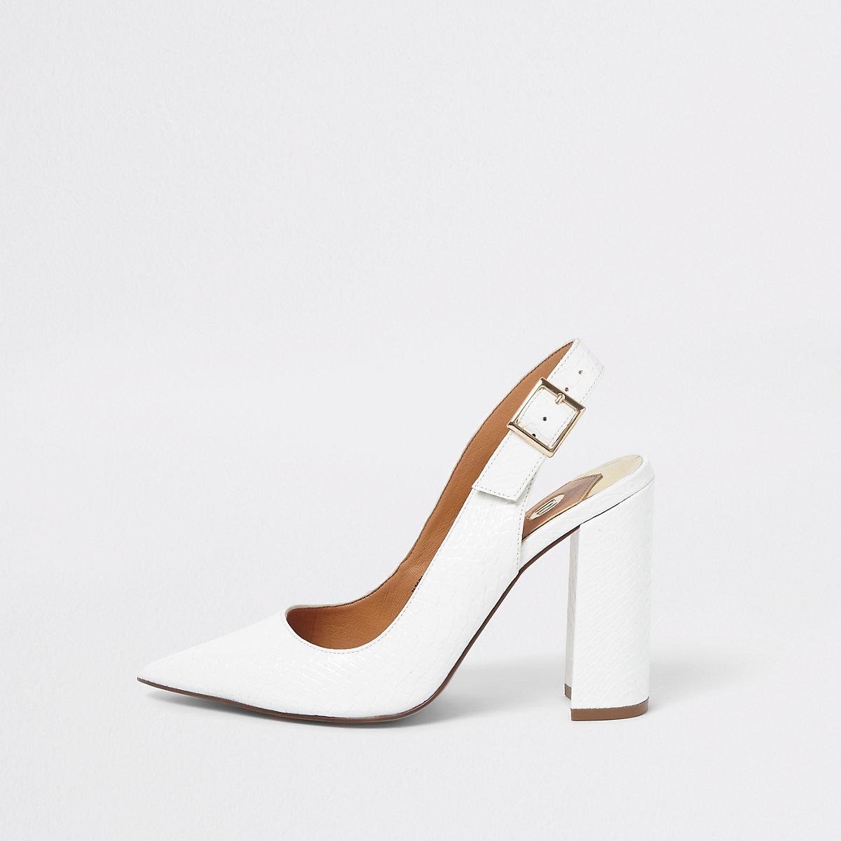 White croc block heel sling back pumps