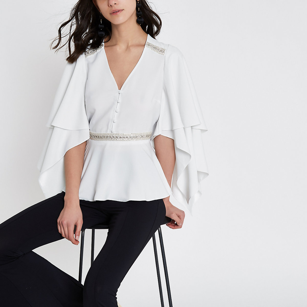 White sequin embellished frill sleeve top