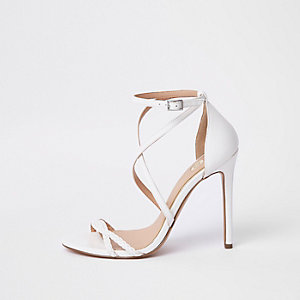 White barely there sandals