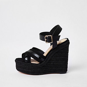 Black cross strap espadrille platform wedges