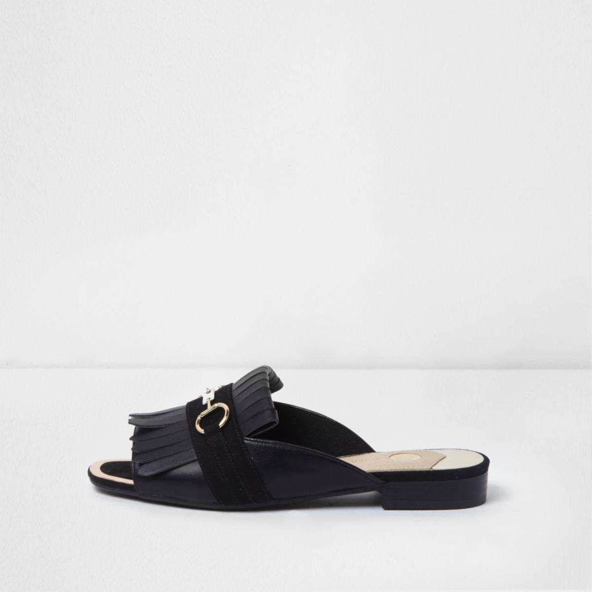 Zwarte peeptoe loafers met franje zonder hiel