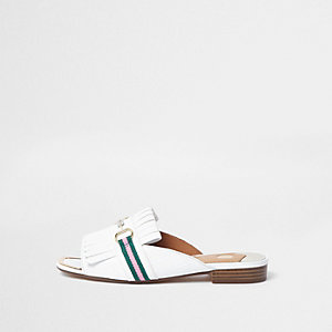 White snaffle fringe backless peep toe loafer