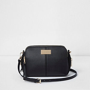 Black triple compartment cross body bag