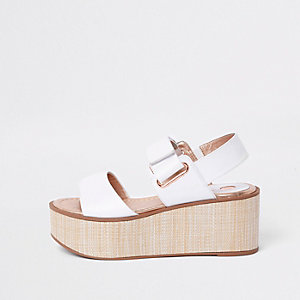 White canvas wedge heel sandals