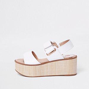 White canvas wedge heel sandals