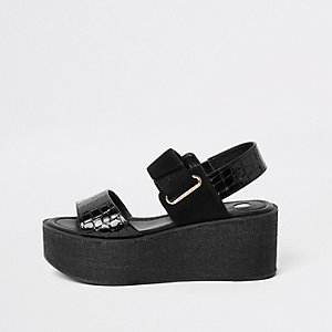 Black wedge heel platform sandals