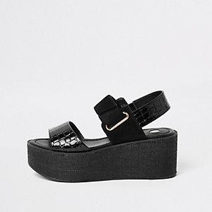 Sandales noires à semelle plateforme et talon compensé