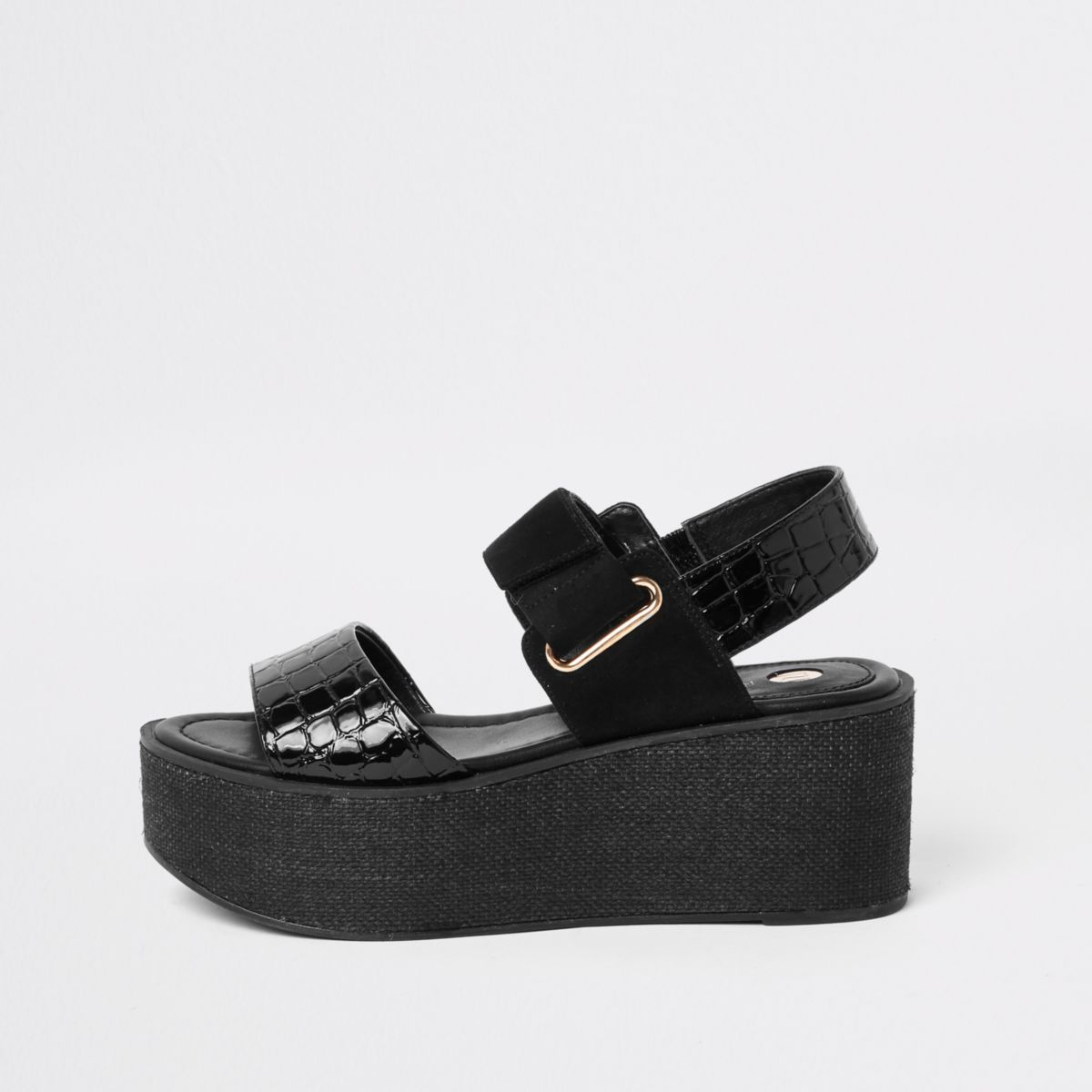 Black wedge heel platform sandals